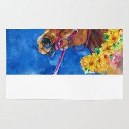 Secretariat Painting, Large Race Horse Watercolor Art Rug