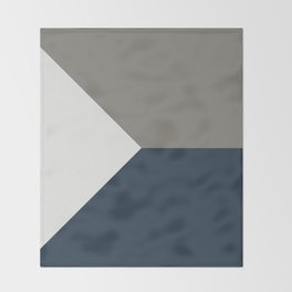 Blue Grey White Abstract Geometric Art Throw Blanket