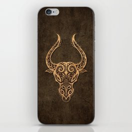 Vintage Rustic Taurus Zodiac Sign iPhone Skin