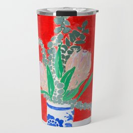Protea Still Life in Red and Delft Blue Travel Mug
