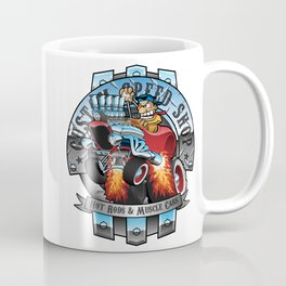 Custom Speed Shop Hot Rods and Muscle Cars Illustration Coffee Mug
