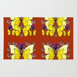 RUST COLORED YELLOW  BUTTERFLY & PANSY FLORAL Rug