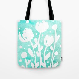 Whimsical watercolor flowers – turquoise Tote Bag