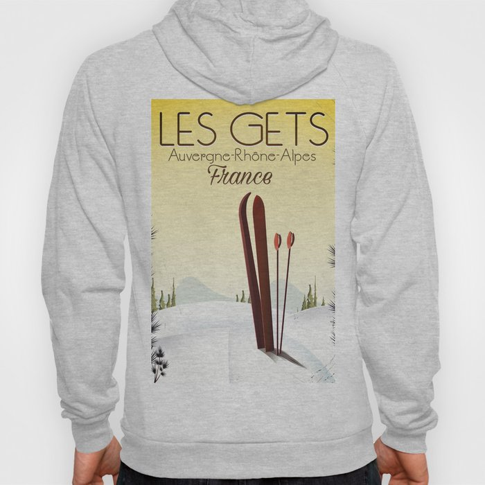 Les Gets France ski travel poster Hoody