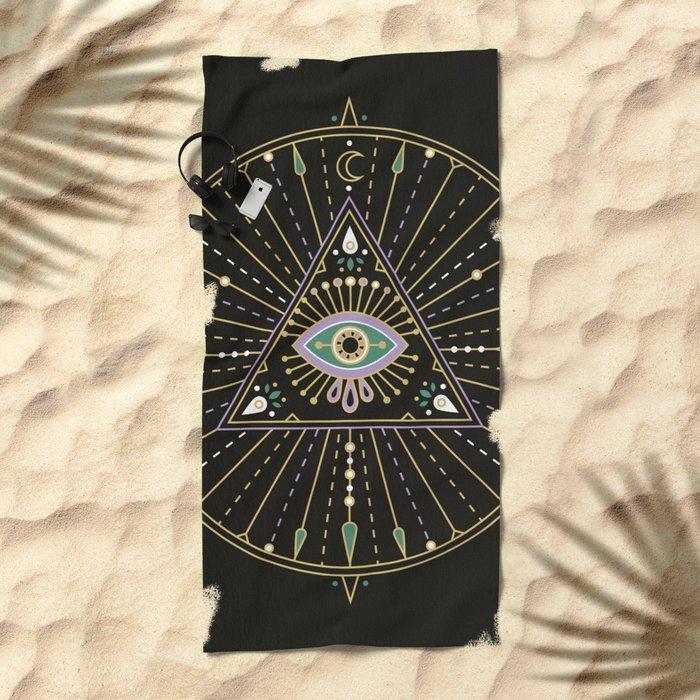 Evil Eye Mandala – Black Beach Towel