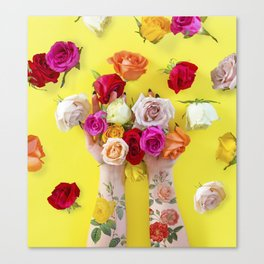 Everything is Sunshine + Roses Canvas Print