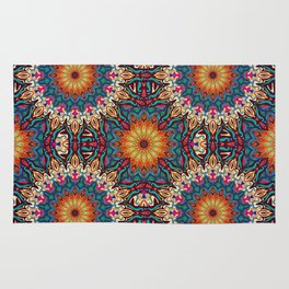 Colorful abstract ethnic floral mandala pattern design Rug