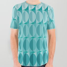 Leaves in the moonlight - a pattern in teal All Over Graphic Tee
