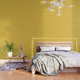 Polka dots and dashes // mustard and gray Wallpaper