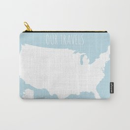 Our Travels USA Map in Light Blue Carry-All Pouch