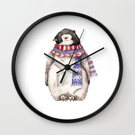 Baby Penguin in Red and Blue Scarf. Winter Season Wall Clock