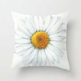 Watercolor Daisy Throw Pillow