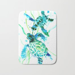 Sea Turtles, Turquoise blue Design Bath Mat