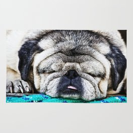 Tuckered Out Pug Rug