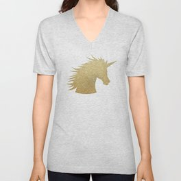 Gold Glitter Unicorn Unisex V-Neck