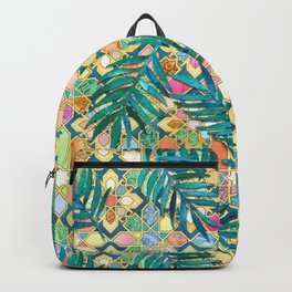 Gilded Moroccan Mosaic Tiles with Palm Leaves Backpack