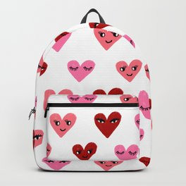 Heart love valentines day gifts hearts with faces cute valentine red and pink Backpack