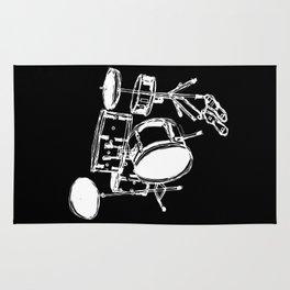 Drum Kit Rock Black White Rug