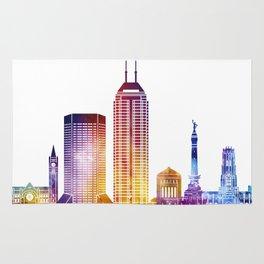 Indianapolis landmarks watercolor poster Rug