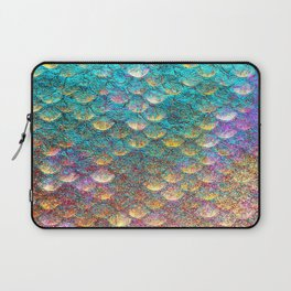 Aqua and Gold Mermaid Scales Laptop Sleeve