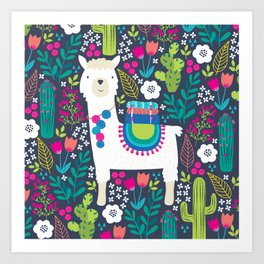 Llama Garden Art Print