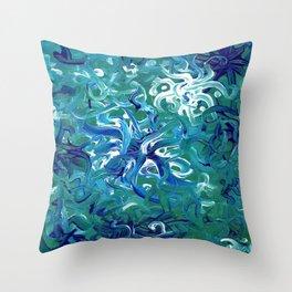 Aquamarine Abstract Artwork Throw Pillow