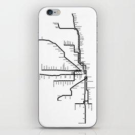 Chicago CTA Map, Chicago Map Art, CTA Art, Chicago Wall Art, Chicago Art, L Train, Art Print iPhone Skin
