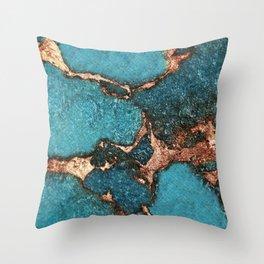 AQUA & GOLD GEMSTONE Throw Pillow