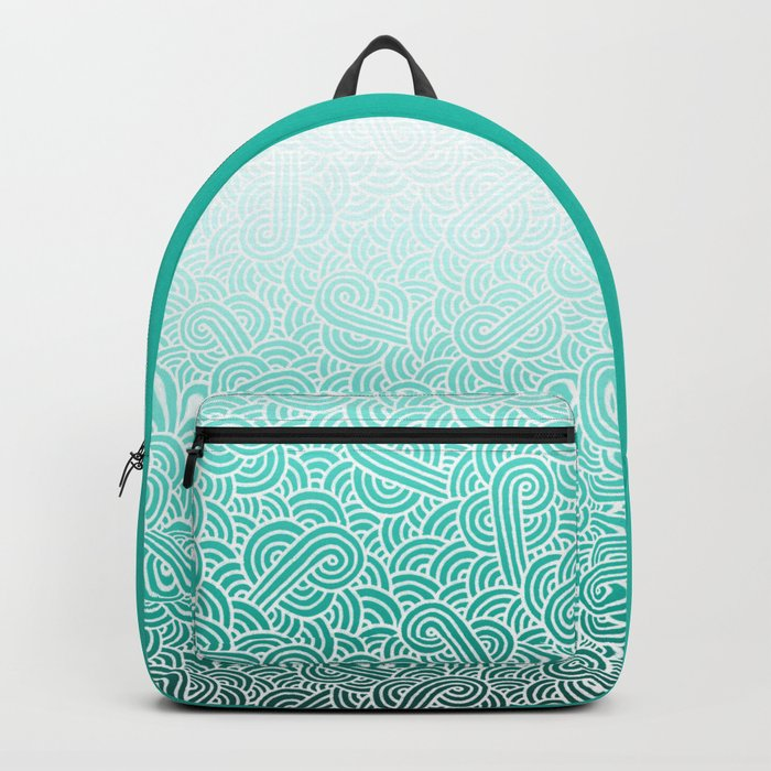 Faded teal blue and white swirls doodles Backpack
