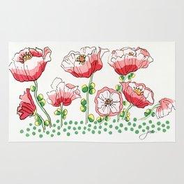 polka dot poppies Rug