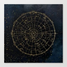 Golden Star Map Canvas Print