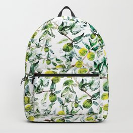 Lime Tree Branch Pattern Watercolor Backpack