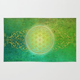 Flower Of Life Vintage gold green Rug