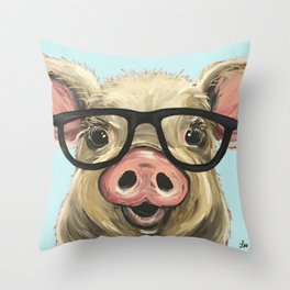 Cute Pig Painting, Farm Animal with Glasses Throw Pillow