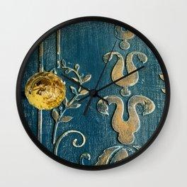 Original Art - A Piece of Versailles Blue & Gold Gilding Art Block Wall Clock