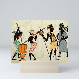 Man ethic african people collage Mini Art Print