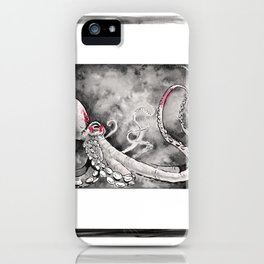 Octopus red squares iPhone Case