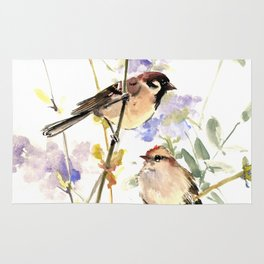 Sparrows and Spring Blossom Rug