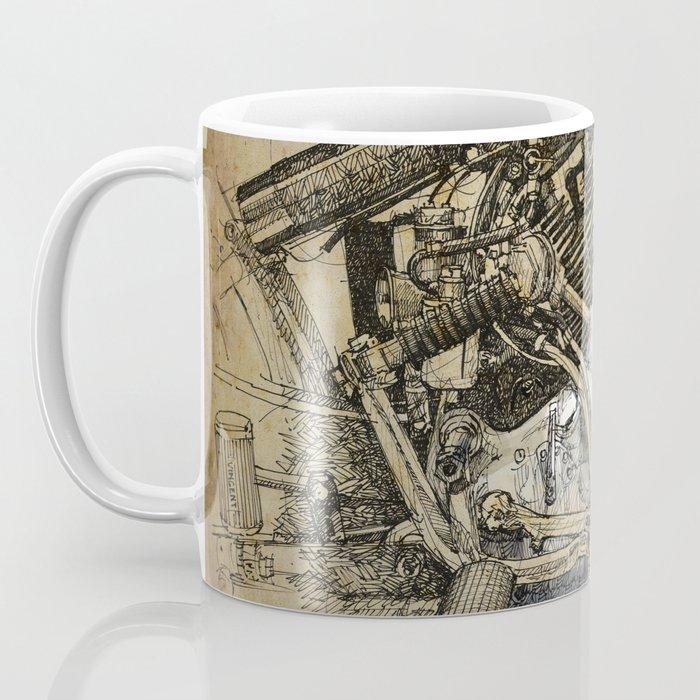 Vincent motorcycle engine motor detail, vintage color, gift for men Coffee Mug