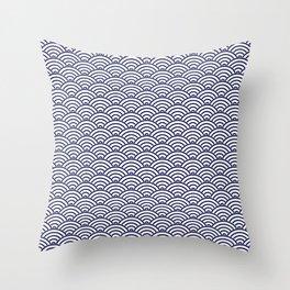 Japanese Koinobori fish scale Delft Blue Throw Pillow