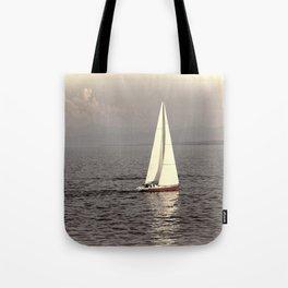 Sailing boat on the lake Tote Bag
