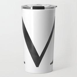 Letter M Initial Monogram Black and White Travel Mug