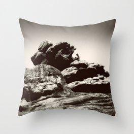 Boy On Rocks Throw Pillow