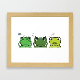 See no evil, Hear no evil, Speak no evil - Frogs Framed Art Print