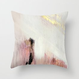 Sunrise [2]: a bright, colorful abstract piece in pink, gold, black,and white Throw Pillow