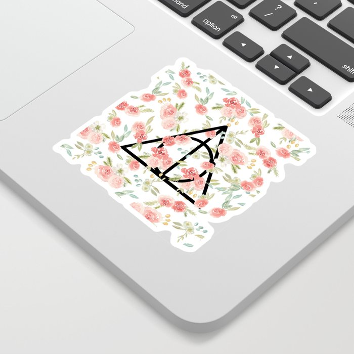 Floral Deathly Hallows Sticker