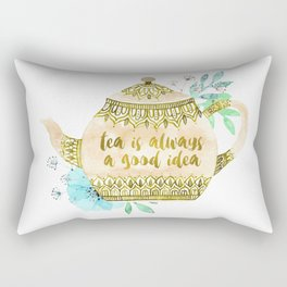 Watercolor Teapot Flowers Rectangular Pillow