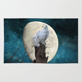 White Snowy Owl Bird Moon Blue A141 Rug