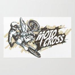 Motocross Woodcut Lineart #2 Rug