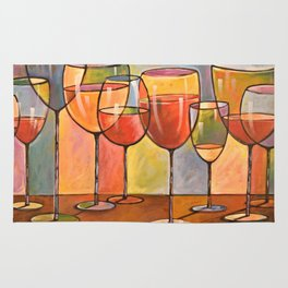 Whites and Reds ... abstract wine glass art, kitchen bar prints Rug